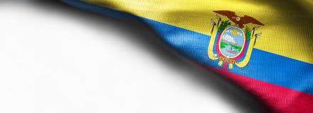 Ecuador waving flag on white background. Right corner flag royalty free stock images