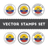 Ecuadorean flag rubber stamps set. National flags grunge stamps. Country round badges collection Stock Photo