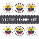 Ecuadorean flag rubber stamps set. Stock Photo