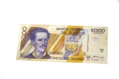 Ecuadorean Sucres (money). Shot of 5000 Ecuadorean Sucres; paper money stock images