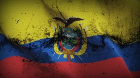 Ecuador grunge dirty flag waving on wind. Ecuadorian background fullscreen grease flag blowing on wind. Realistic filth fabric texture on windy day Royalty Free Stock Photography