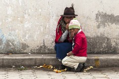 Ecuadorian children at Guamote Market royalty free stock photography