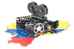 Ecuadorian cinematography, film industry concept. 3D rendering. Isolated on white background Royalty Free Stock Image