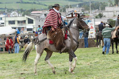 Ecuadorian cowboy wearing furry chaps and wool poncho on horseback. June 3, 2017 Machachi, Ecuador: cowboy wearing furry chaps and traditional striped poncho on stock image