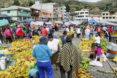 Ecuadorian ethnic people with indigenous clothes in a rural Saturday market in Zumbahua village, Ecuador. Stock Photo