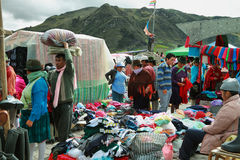 Ecuadorian ethnic people with indigenous clothes in a rural Saturday market in Zumbahua village, Ecuador. Stock Image
