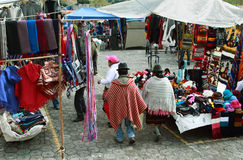 Ecuadorian ethnic people with indigenous clothes in a rural Saturday market in Zumbahua village, Ecuador. Royalty Free Stock Photography