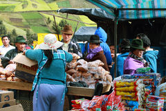 Ecuadorian ethnic woman selling pastries Royalty Free Stock Photography