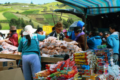 Ecuadorian ethnic woman selling pastries Royalty Free Stock Images