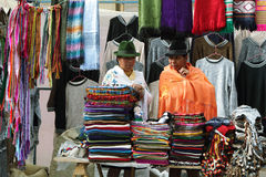 Ecuadorian ethnic women with indigenous clothes in a rural Saturday market in Zumbahua village, Ecuador. Royalty Free Stock Photos