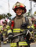 Ecuadorian Firemen on Parade Royalty Free Stock Photography