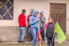 Ecuadorian Kids Waiting For The President Rafael Correa Stock Photo
