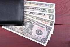 Ecuadorian money in the black wallet Stock Photo