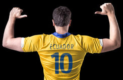 Ecuadorian soccer player player on black background Royalty Free Stock Image