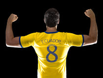 Ecuadorian soccer player player on black background Royalty Free Stock Photography