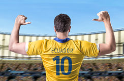 Ecuadorian soccer player player in the stadium Stock Photos