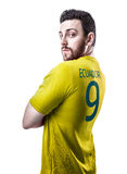 Ecuadorian soccer player player on white background Stock Images