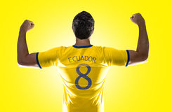 Ecuadorian soccer player player on yellow background Royalty Free Stock Photo