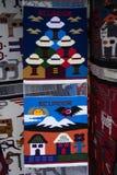Ecuadorian textiles in otavalo. Closeup of a colourful traditional textile in Otavalo Ecuador Royalty Free Stock Photo
