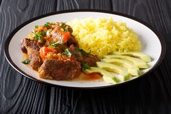 Ecuadorian traditional food: seco de chivo goat meat with a garnish of yellow rice and avocado close-up. horizontal. Ecuadorian traditional food: seco de chivo royalty free stock photo