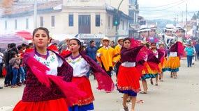 Ecuadorian Volkstänzer an der Parade, Ecuador stockfotografie