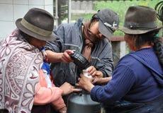 Ecuadorian Women Making Cheese. Royalty Free Stock Photo