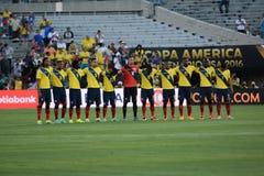 Ecuatorian drużyna narodowa. em minuta cisza na cześć Muham Fotografia Royalty Free