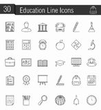 Ecucation Icons. Set of 30 education line icons Royalty Free Stock Photography