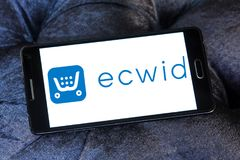 Ecwid payment company logo. Logo of ecwid payment company on samsung mobile. Ecwid is a free shopping cart that allows anyone to easily create online store and Stock Photo