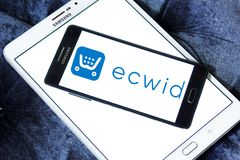 Ecwid payment company logo. Logo of ecwid payment company on samsung mobile. Ecwid is a free shopping cart that allows anyone to easily create online store and Royalty Free Stock Photography