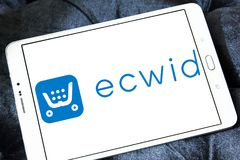 Ecwid payment company logo. Logo of ecwid payment company on samsung tablet. Ecwid is a free shopping cart that allows anyone to easily create online store and Royalty Free Stock Images