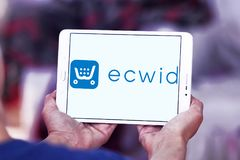 Ecwid payment company logo. Logo of ecwid payment company on samsung tablet. Ecwid is a free shopping cart that allows anyone to easily create online store and Stock Image