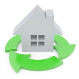 Ecycling arrows. 3d house and recycling arrows Stock Illustration