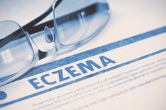 eczéma Concept médical sur le fond bleu illustration 3D Images libres de droits
