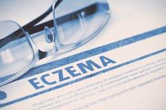 eczema Conceito médico no fundo azul ilustração 3D Imagens de Stock Royalty Free