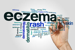 Eczema word cloud on grey background.  Royalty Free Stock Photography