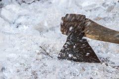 Ed ascia di ghiaccio Fotografie Stock