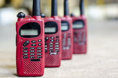 Ed color used walky talky. Close up image of red color used walky talky Royalty Free Stock Photography
