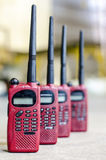 Ed color used walky talky. Close up image of red color used walky talky Royalty Free Stock Images
