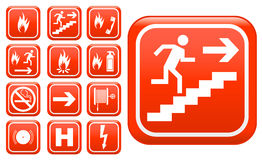 Ed emergency fire safety signs. Set of red emergency fire safety signs and symbols Royalty Free Stock Image