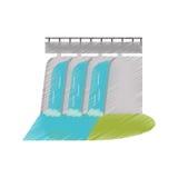 Ed idroelettrico della diga dell'acqua della pianta della stazione royalty illustrazione gratis