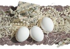 Ed il salice di Music Box del pizzo dell'uovo di Pasqua si ramificano Fotografia Stock