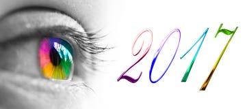 2017 ed intestazione variopinta dell'occhio dell'arcobaleno, concetto di saluti del nuovo anno Fotografia Stock