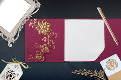 Ed Invitation Chinese card on black. Wedding Card, Red Invitation Chinese card on black royalty free stock images