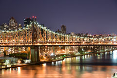 Ed Koch Queensboro Bridge view at night from Long Island City t Stock Image