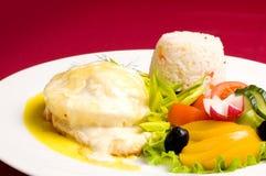 ed kurczaka gratin risotto zdjęcie royalty free