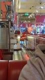 Ed rockets American diner style restaurant. Hot dog burger fries Stock Photos