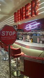 Ed rockets stop sign American diner. American food diner Royalty Free Stock Photo