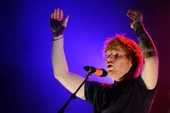 Ed Sheeran führt an der FLUNKEREI durch stockfotos
