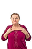 Edad del retiro de la mujer que muestra diversas emociones en un fondo blanco en Rusia Imágenes de archivo libres de regalías